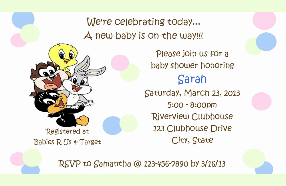 Baby Looney Tunes Invitation Inspirational Personalized Baby Looney Tunes Baby Shower Invitations
