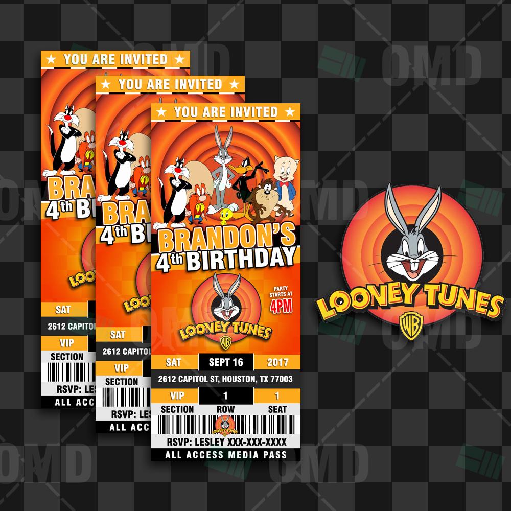 Baby Looney Tunes Invitation Lovely Looney Tunes Ticket Style Birthday Cartoon Invites