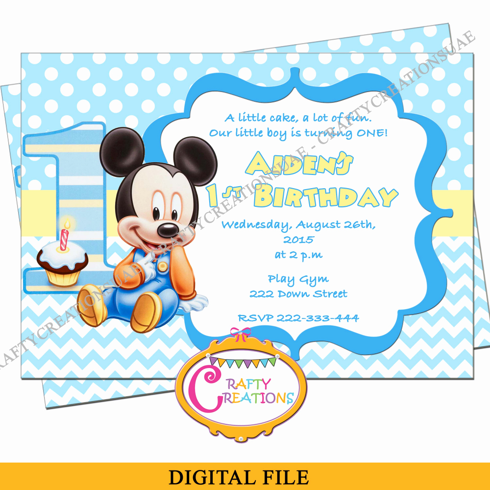 Baby Mickey Invitation Template Best Of Baby Mickey Mouse Birthday Invitation Baby Mickey First