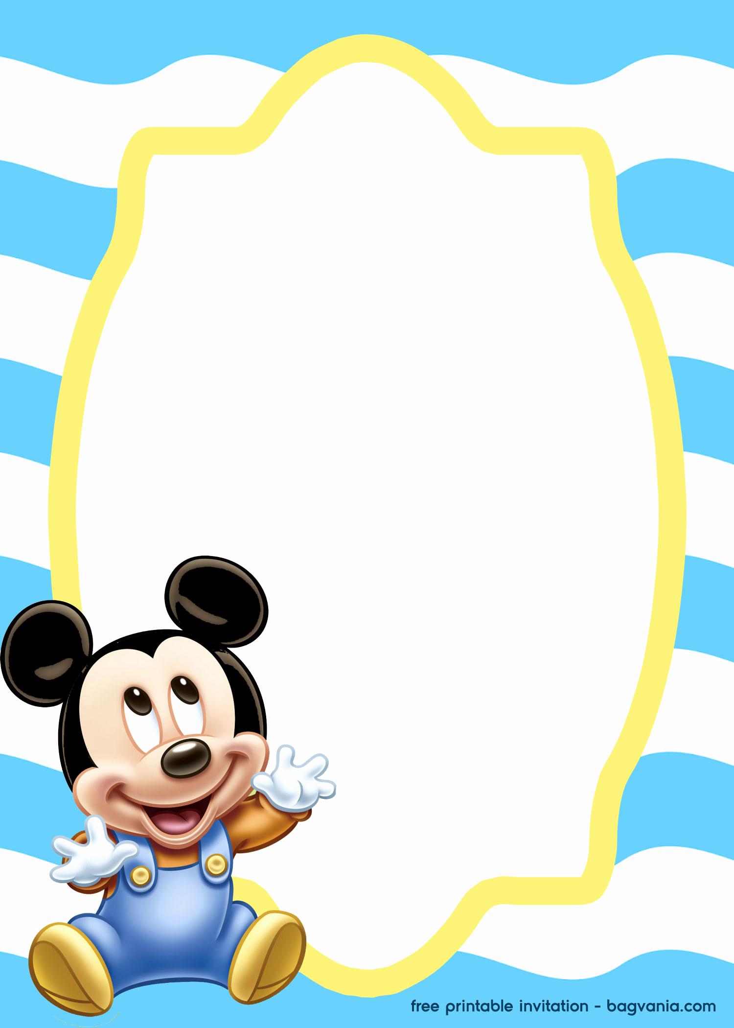 Baby Mickey Invitation Template Inspirational Free Mickey Mouse Baby Invitation Template – Free