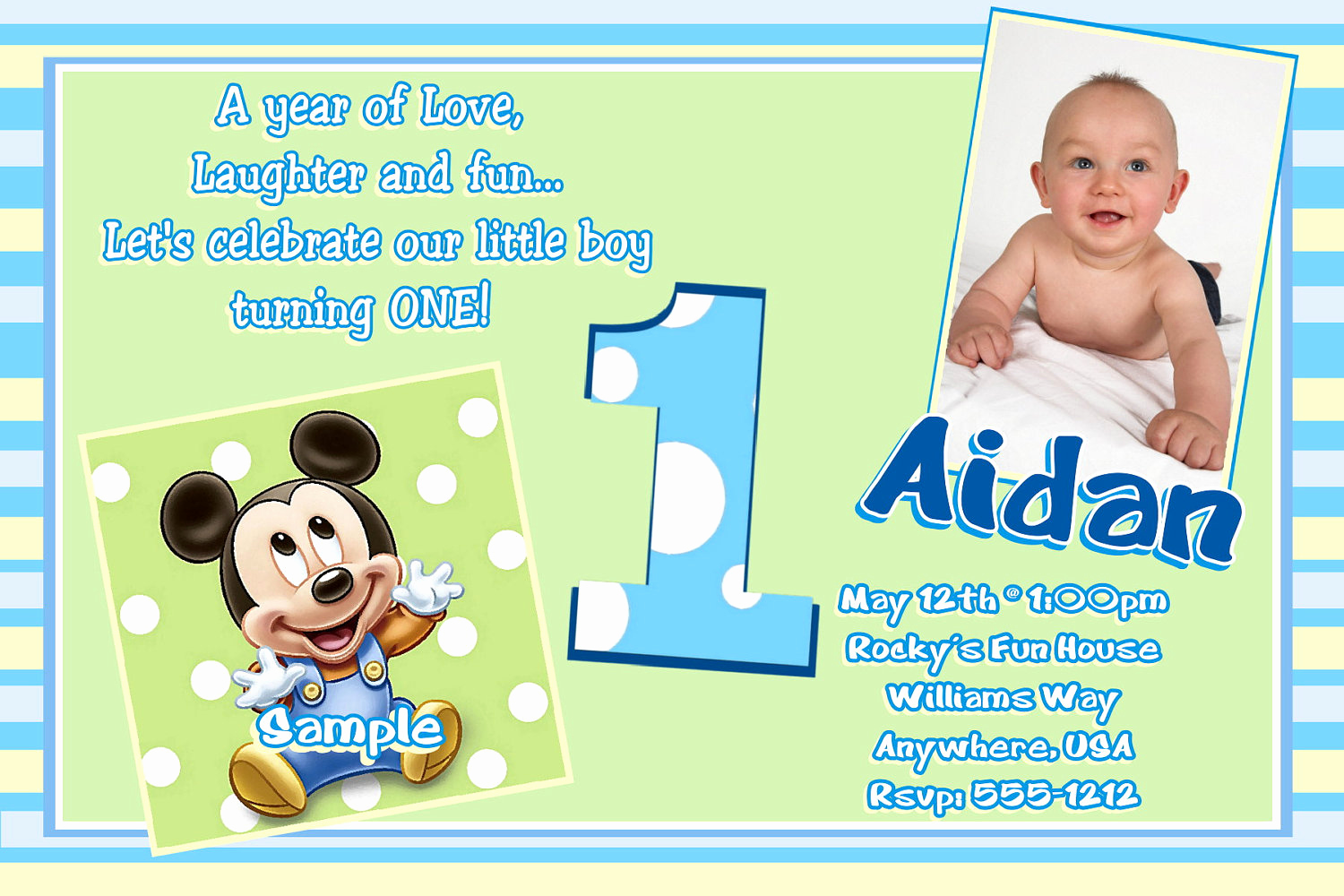 Baby Mickey Invitation Template Inspirational Free Printable Mickey Mouse 1st Birthday Invitations