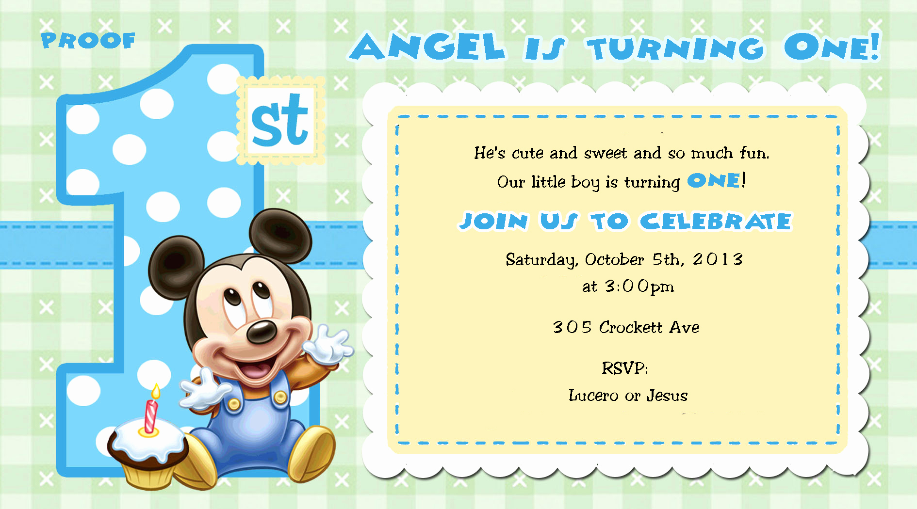 Baby Mickey Invitation Template Inspirational Mickey Mouse 1st Birthday Invitations for Girls and Boys