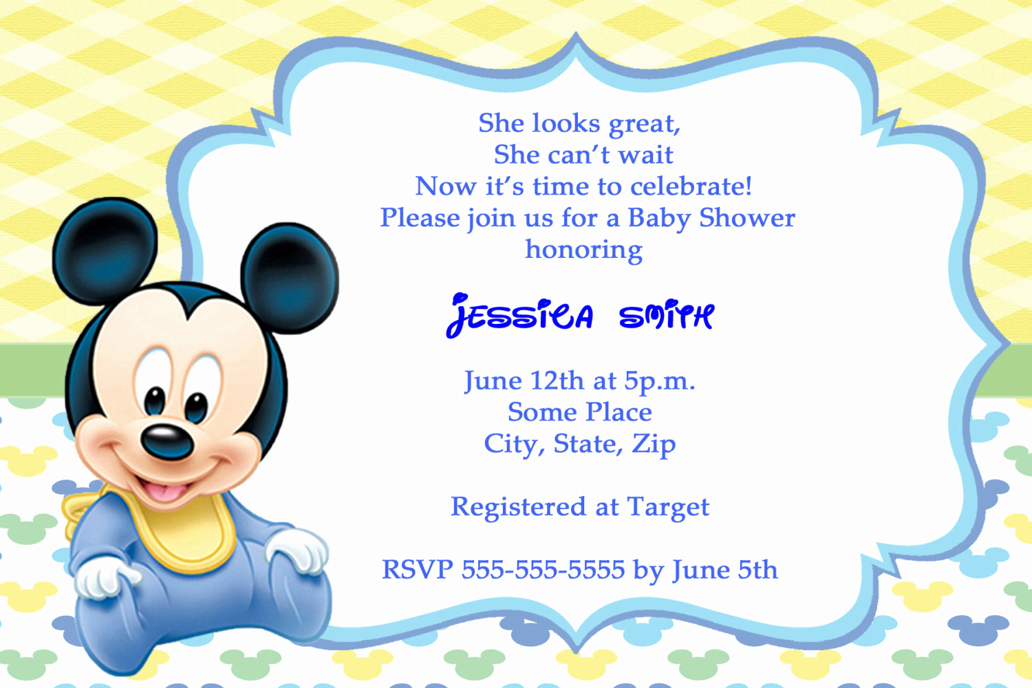 Baby Mickey Invitation Template Inspirational Mickey Mouse Baby Shower Invitations Thank You Cards