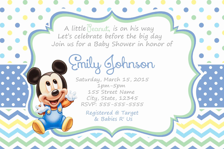 Baby Mickey Invitation Template Lovely Mickey Mouse Baby Shower Invitations Baby Mickey Shower