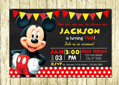 Baby Mickey Invitation Template Lovely Mickey Mouse Printed Chalkboard Birthday Invitations