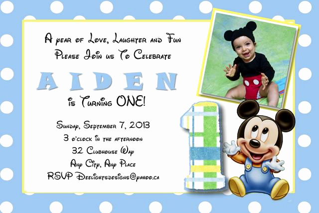 Baby Mickey Invitation Template Lovely Personalized Party Invites for Boys Worldwide