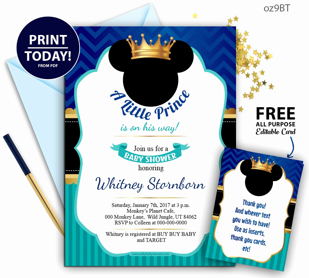 Baby Mickey Invitation Template Lovely Royal Prince Mickey Baby Shower Blue and Turqoiuse