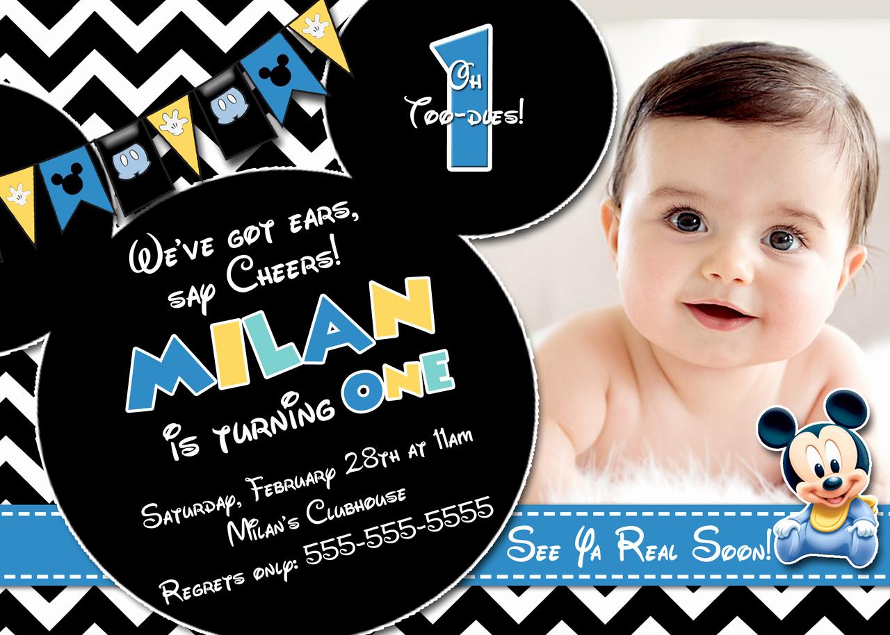 Baby Mickey Invitation Template Luxury Baby Mickey 1st Birthday Invitations