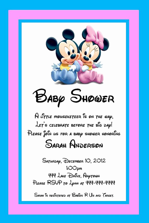 Baby Mickey Invitation Template Luxury Unavailable Listing On Etsy