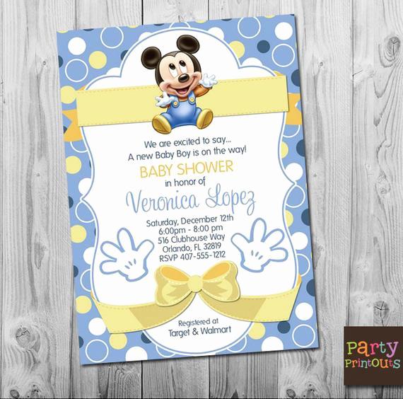 Baby Mickey Invitation Template Unique Baby Mickey Baby Shower Invitation Blue Mickey Mouse Baby