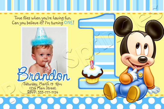 Baby Mickey Invitation Template Unique Baby Mickey First Birthday Invitations