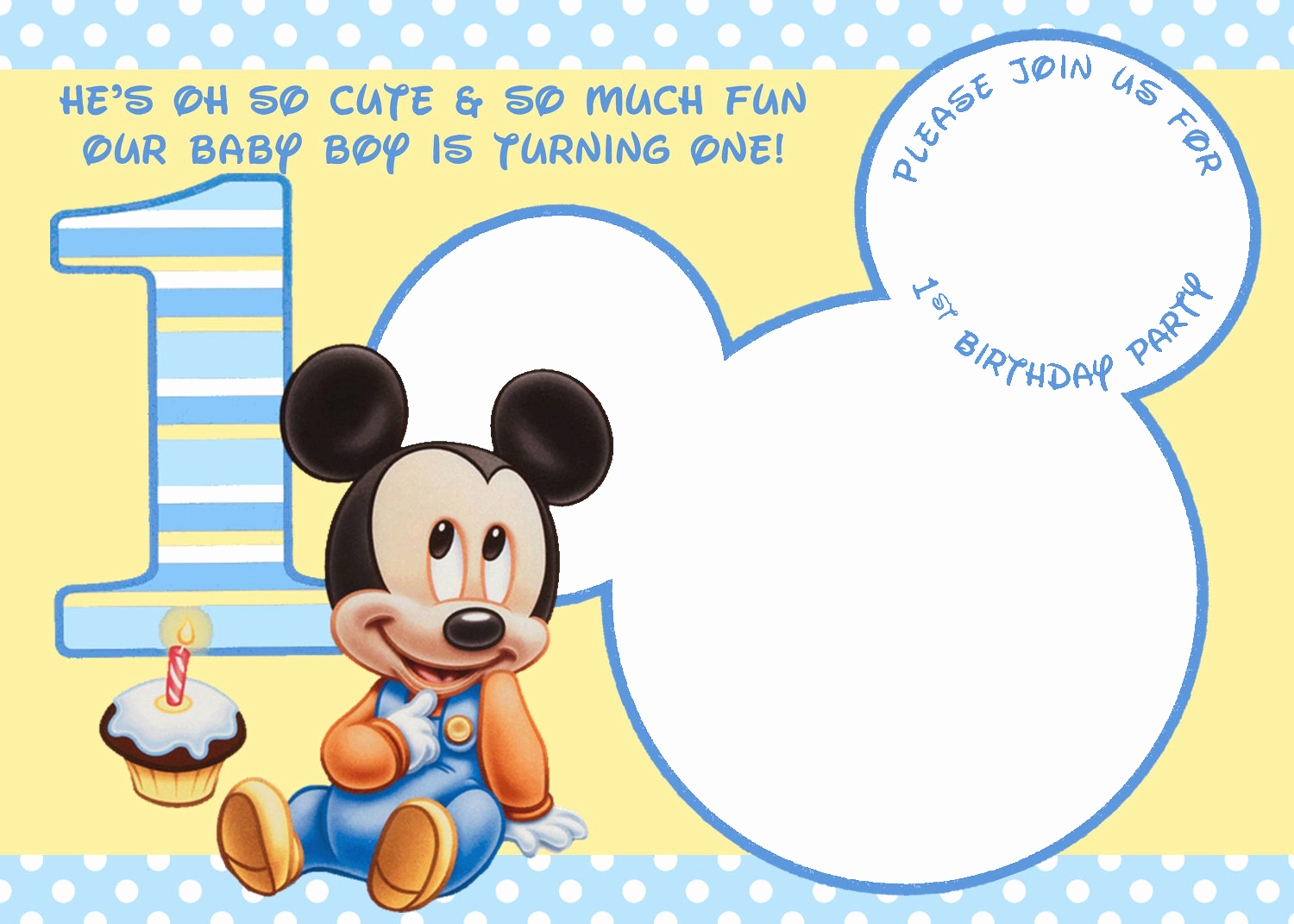 Baby Mickey Invitation Template Unique Free Mickey Mouse Clubhouse 1st Birthday Invitations