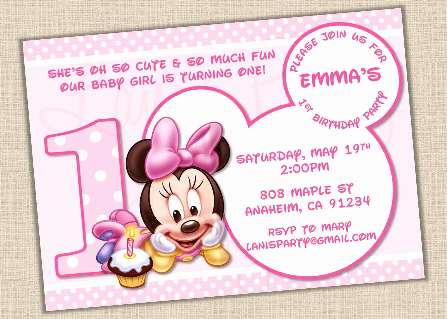 Baby Minnie Mouse Invitation Awesome Baby Minnie Mouse 1st Birthday Invitations