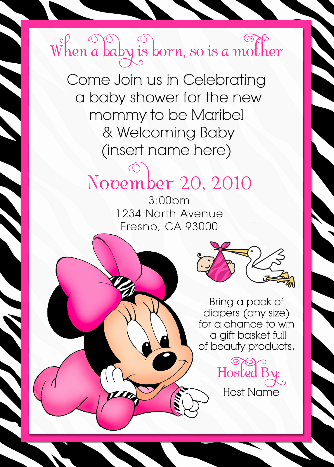 Baby Minnie Mouse Invitation Awesome Waterbaby Designs Baby Minnie Baby Shower Invite