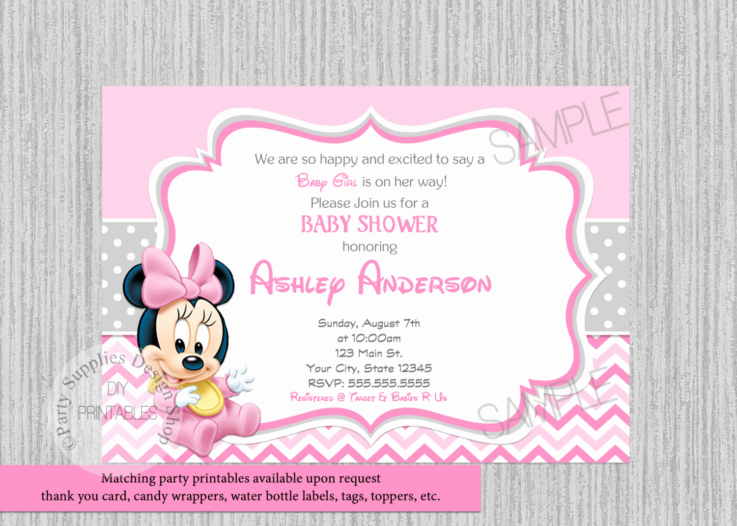 Baby Minnie Mouse Invitation Best Of Disney Baby Minnie Baby Shower Invitations Minnie Baby Shower