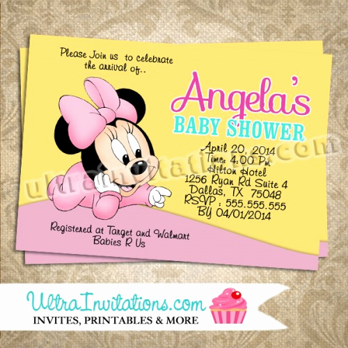 Baby Minnie Mouse Invitation Fresh Minnie Mouse Invites Baby Shower Diy Digital or Prints