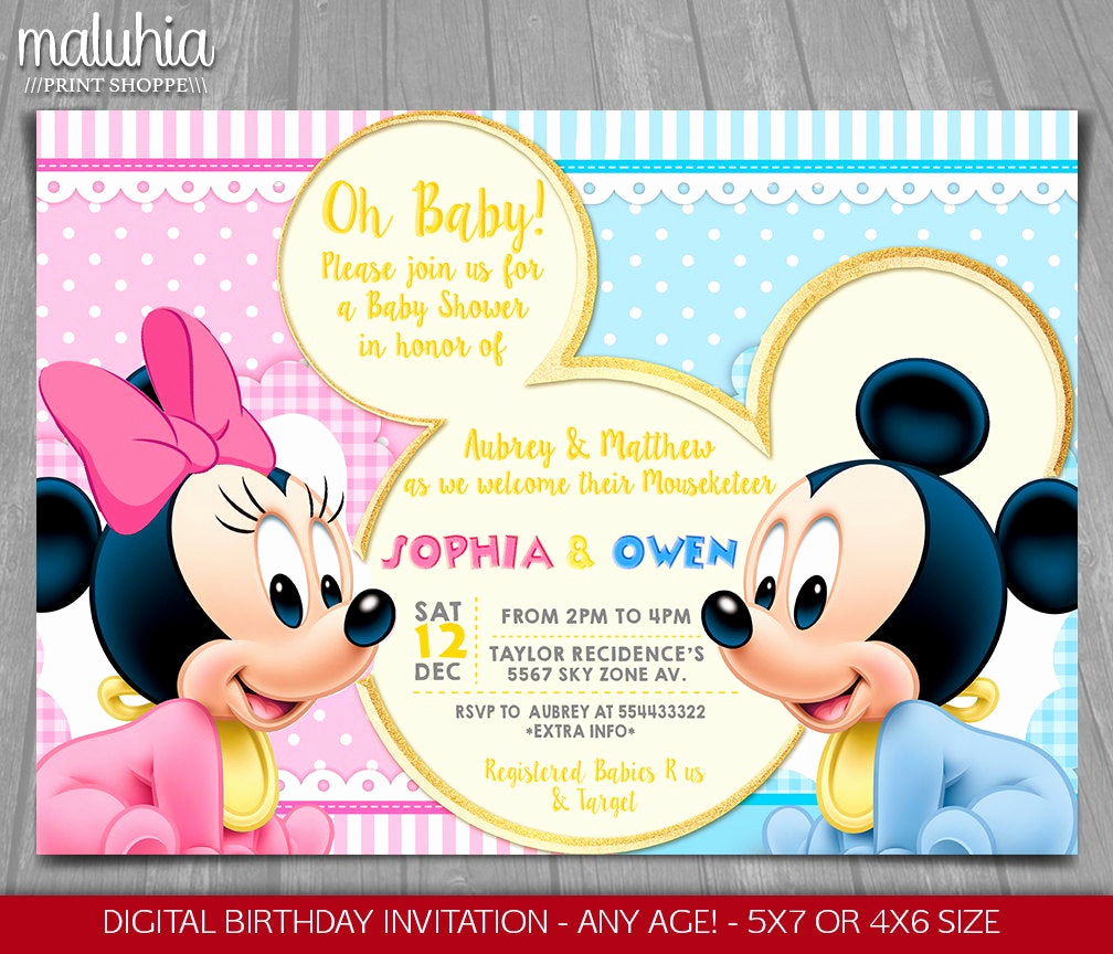 Baby Minnie Mouse Invitation Inspirational Baby Mickey Minnie Mouse Baby Shower Invitation Minnie