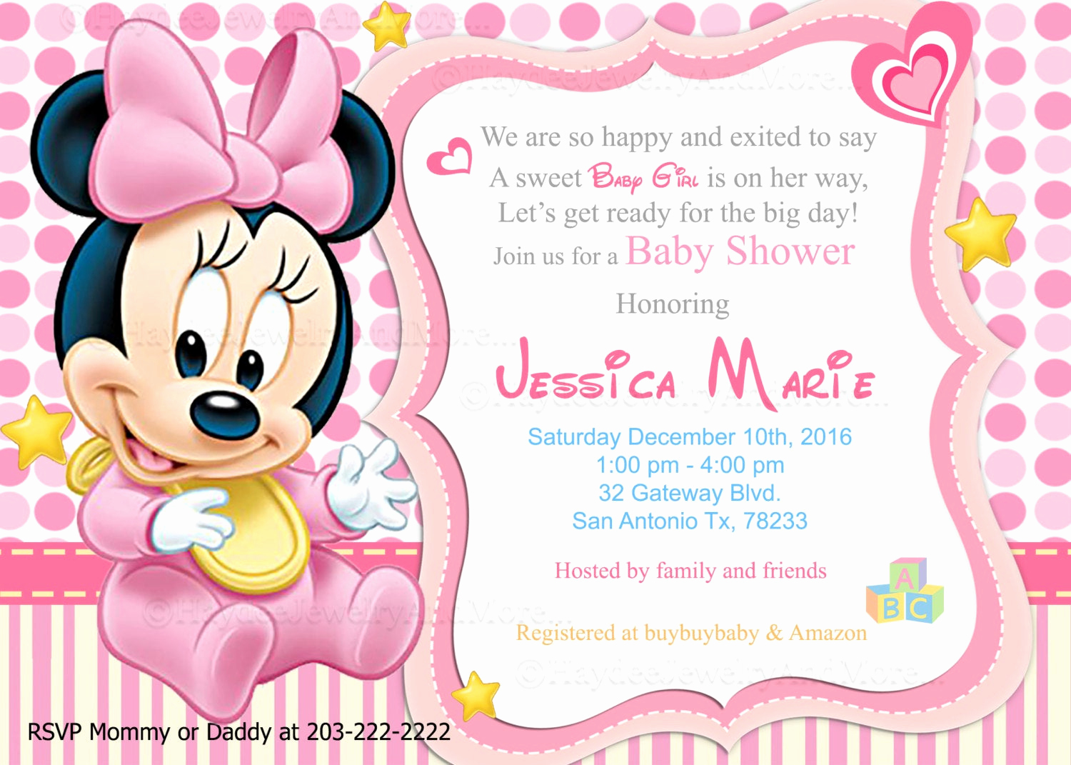 Baby Minnie Mouse Invitation Inspirational Disney Baby Minnie Baby Shower Invitations Baby sower