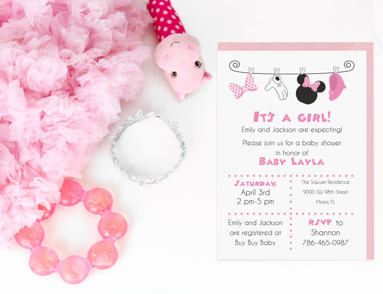 Baby Minnie Mouse Invitation Inspirational Minnie Mouse Baby Shower Invitation Digital File by