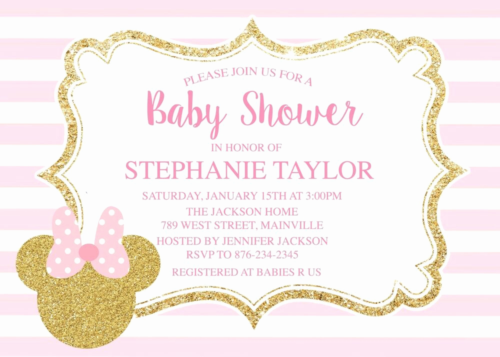 Baby Minnie Mouse Invitation Lovely Minnie Mouse Pink Gold Baby Shower Invitation