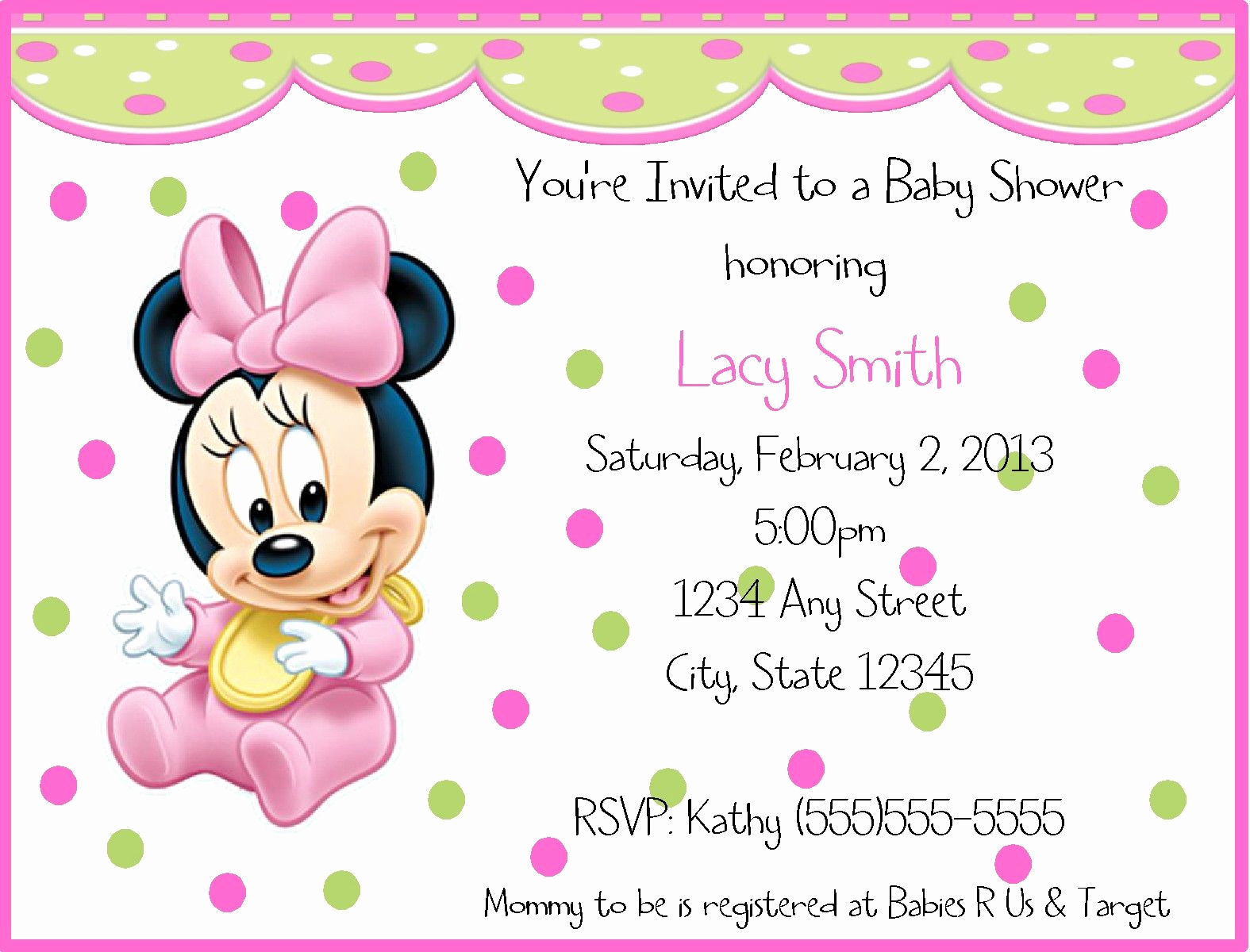 Baby Minnie Mouse Invitation Lovely Nice Baby Minnie Mouse Birthday Invitations