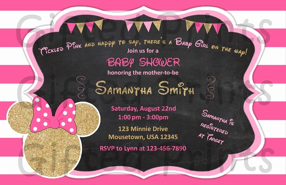 Baby Minnie Mouse Invitation Luxury Baby Shower Invitation Minnie Mouse theme