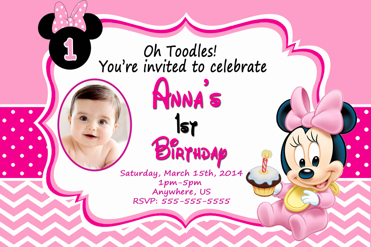 Baby Minnie Mouse Invitation New Baby Minnie Mouse 1st Birthday Invitations