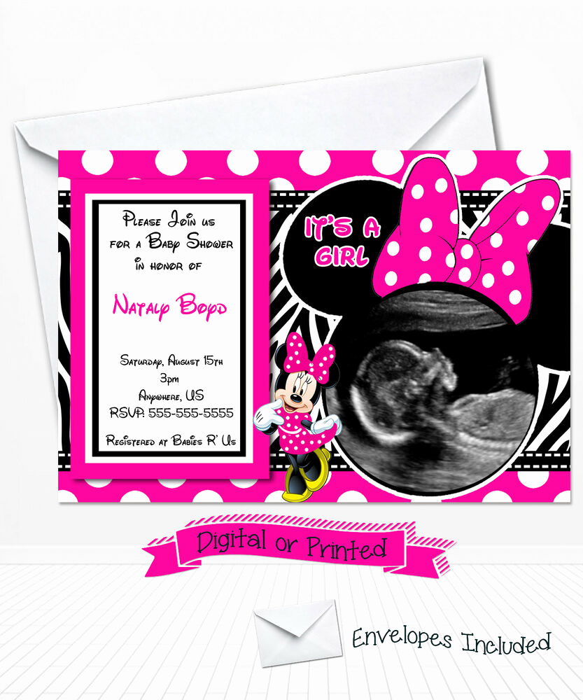 Baby Minnie Mouse Invitation New Printed Hot Pink Minnie Mouse Baby Shower Invitations