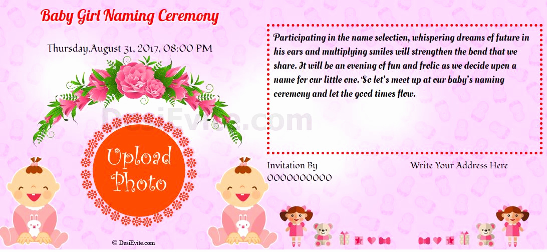 Baby Naming Ceremony Invitation Awesome Free Baby Girl Namkaran Invitation Card & Line Invitations