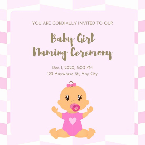 Baby Naming Ceremony Invitation Elegant Pink Gold Cute Baby Girl Naming Ceremony Invitation