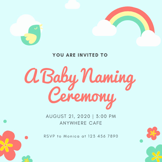 Baby Naming Ceremony Invitation Fresh Blue Baby Naming Ceremony Invitation Templates by Canva