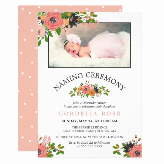 Baby Naming Ceremony Invitation Fresh Sweet Fall Flowers