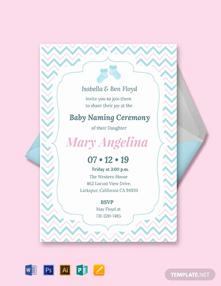 Baby Naming Ceremony Invitation Lovely Free Baby Naming Ceremony Invitation Template Word
