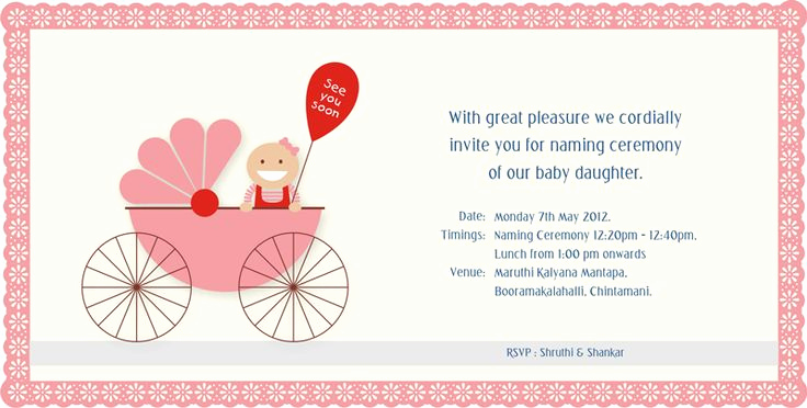 Baby Naming Ceremony Invitation Luxury Baby Naming Ceremony Invitation Graphic Design