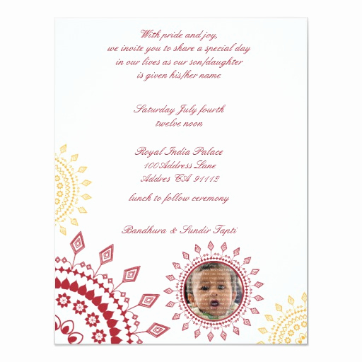 "Baby Naming Ceremony Invitation Luxury Red & Yellow Namkaran Baby Naming Invitations 4 25"" X 5 5"