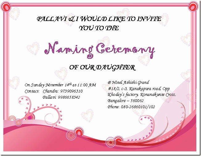 Baby Naming Ceremony Invitation New Chandra S Random Updates Sireesha's Naming Ceremony