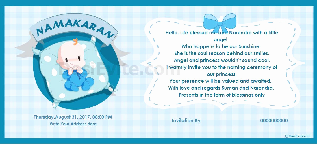 Baby Naming Ceremony Invitation New Free Naming Ceremony Namakaran Invitation Card & Line