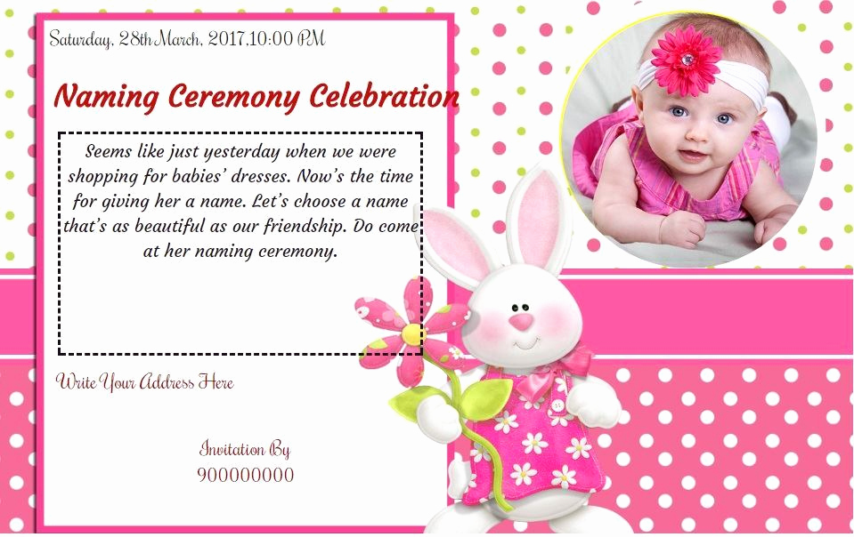 Baby Naming Ceremony Invitation Unique Free Baby Girl Naming Ceremony Invitation Card & Line