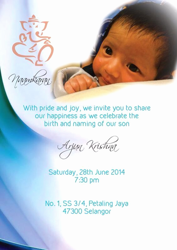 Baby Naming Invitation Wording Awesome Naming Ceremony Invite for Baby Arjun