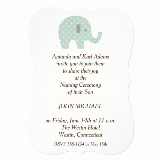 Baby Naming Invitation Wording Beautiful Polkadot Elephant Baby Boy Naming Ceremony Invite