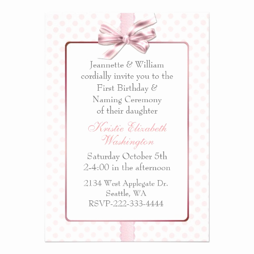 Baby Naming Invitation Wording Fresh Pink Polka Dot Baby S Birthday and Naming Ceremony 5x7