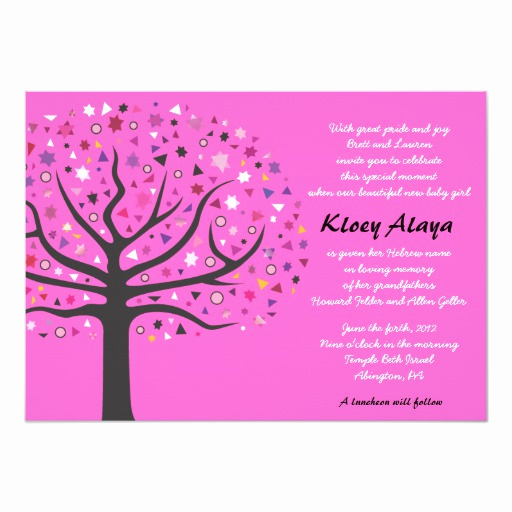 Baby Naming Invitation Wording Fresh Tree Of Life Jewish Baby Naming Invitation
