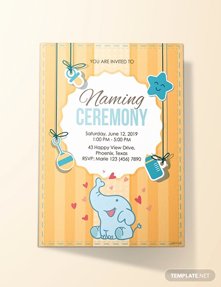 Baby Naming Invitation Wording Lovely Free Elegant Naming Ceremony Invitation Template Download