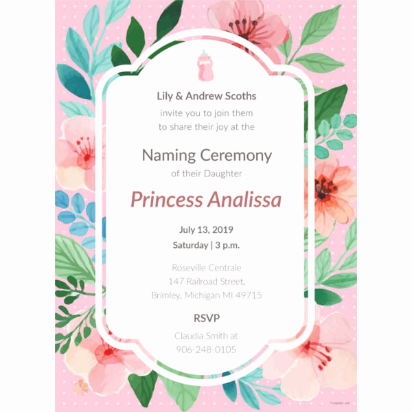 Baby Naming Invitation Wording Luxury 41 Naming Ceremony Invitations Free Psd Pdf format