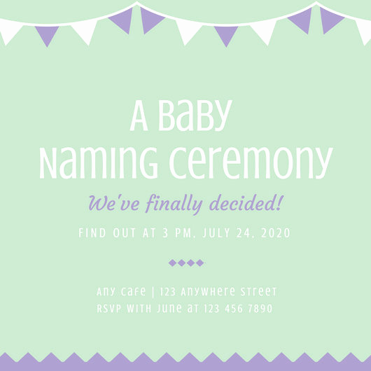 Baby Naming Invitation Wording Unique Green and Purple Baby Naming Ceremony Invitation