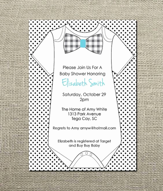 Baby Onesie Invitation Template New Esie Bowtie Baby Boy Shower Invitation