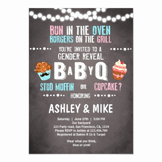 Baby Q Invitation Template Fresh Gender Reveal Invitation Babyq Bbq Couples Shower