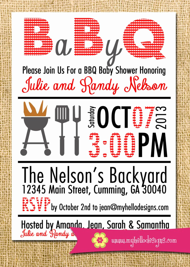 Baby Q Invitation Template Luxury Printable Bbq Invitation Any Color Bination Backyard