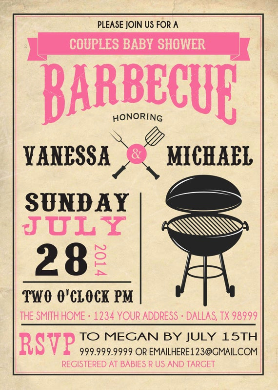 Baby Shower Bbq Invitation Awesome Items Similar to Couples Bbq Baby Shower Invitation