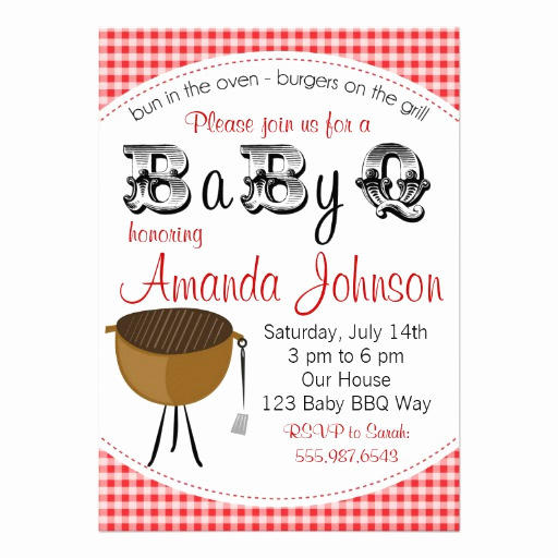 "Baby Shower Bbq Invitation Beautiful Baby Backyard Barbecue Babyq Shower Invitation 5"" X 7"